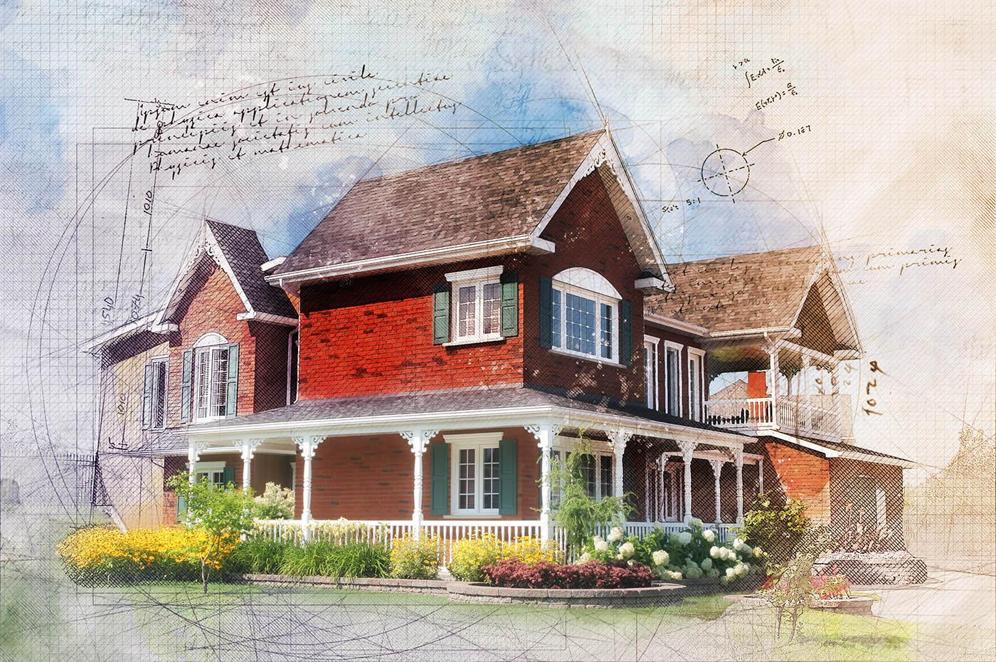 Beautiful Cottage Sketch Image
