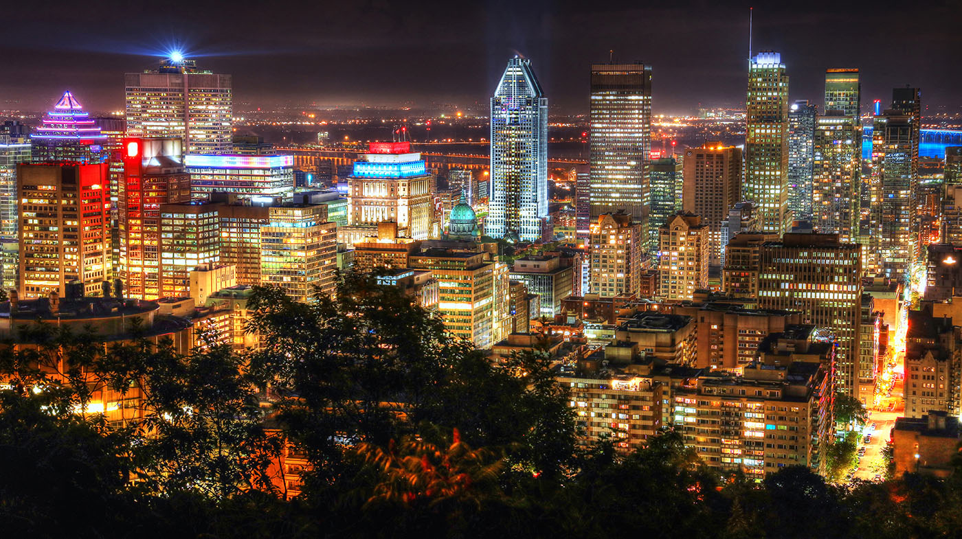 2020 Montreal City View at Night From Mount Royal Lookout - Stock Photo