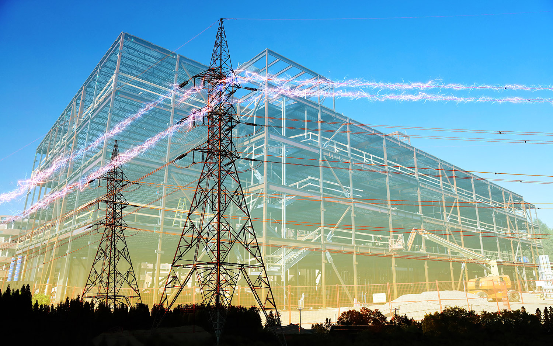 Large Construction Industry Electrification - Stock Photo