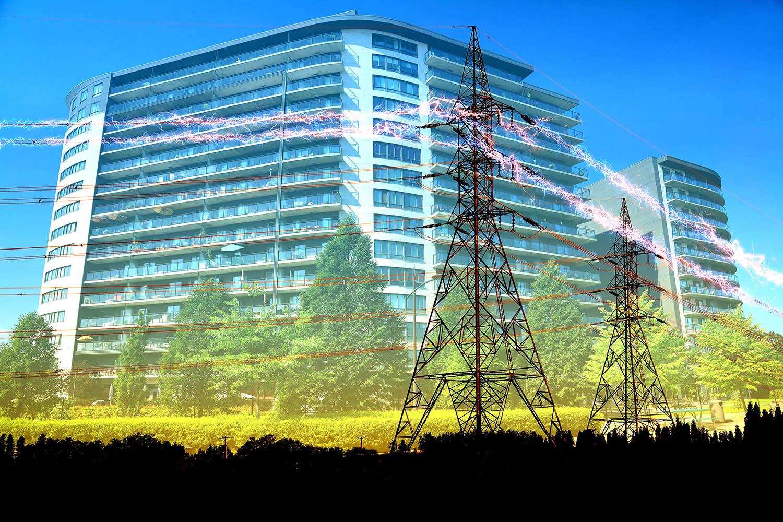 Urban Residential Building Electrification Concept - Stock Photo