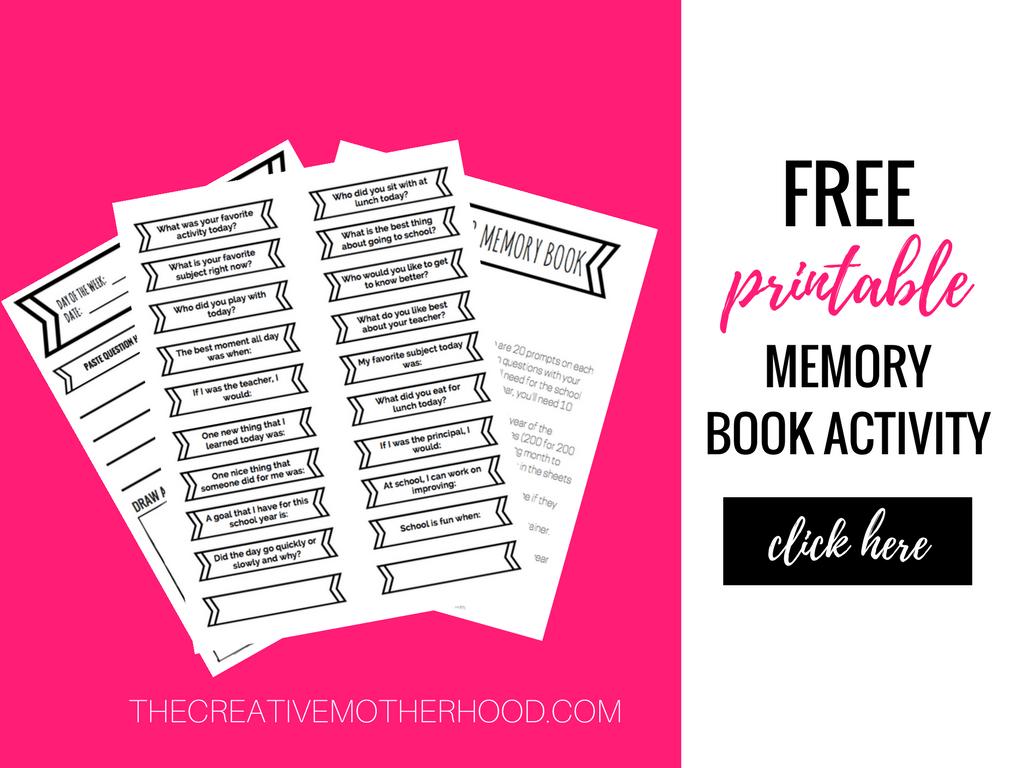 free printable memory book kids school activitiy
