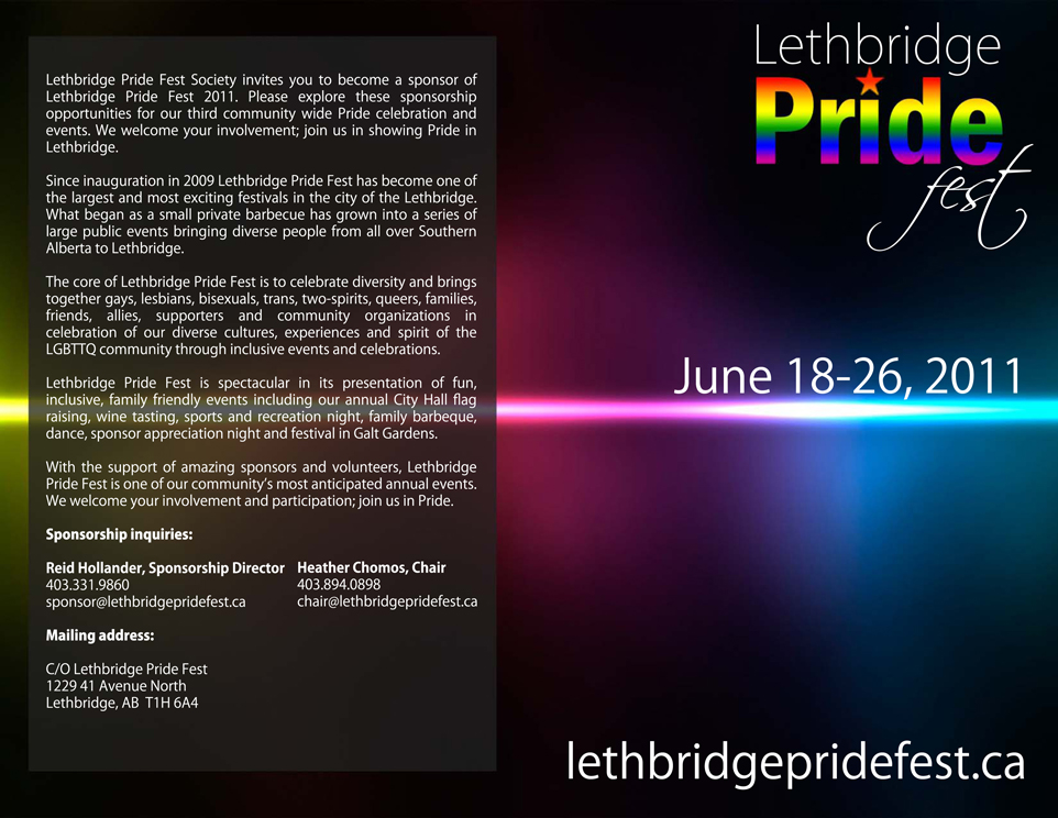 Lethbridge Pride Fest Sponsorship Package Covers