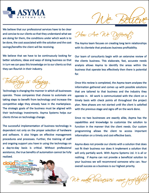 - Asyma Systems Marketing Book - Page 2 - We Believe
