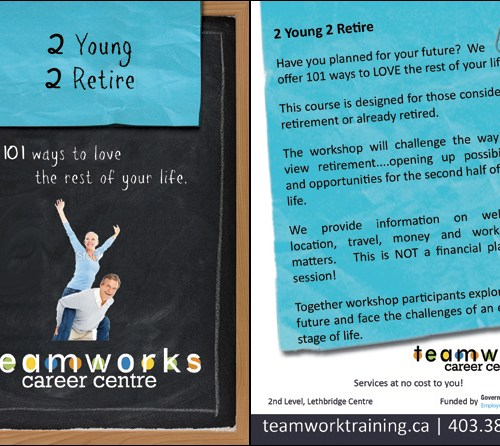 Teamworks Postcard - 2 Young 2 Retire (5 of 5) Front & Back