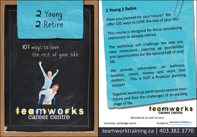Teamworks Postcard - 2 Young 2 Retire