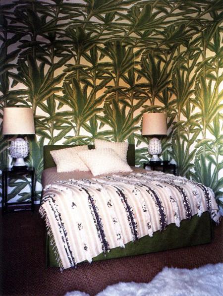 darren brown palm leaf botanical print wallpaper bedroom mid century modern moroccan wedding blanket