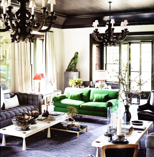 elle decor living room ideas black-ceiling-black-ornate-pendents-green-sofa-living-room-elle-decor-pg-69