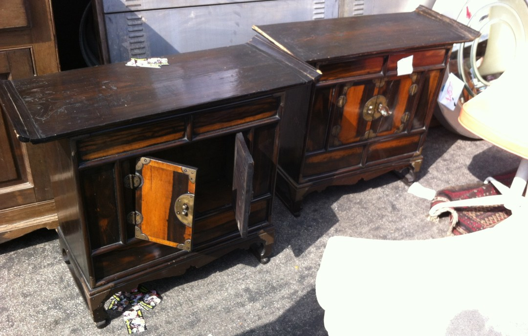 $600 for the pair, a really good deal for these lefty nightstands.  The two tone wood is unique and the hardware really stunning.  In the picture they look like they need work, but nope, they're good to go after a little polishing.
