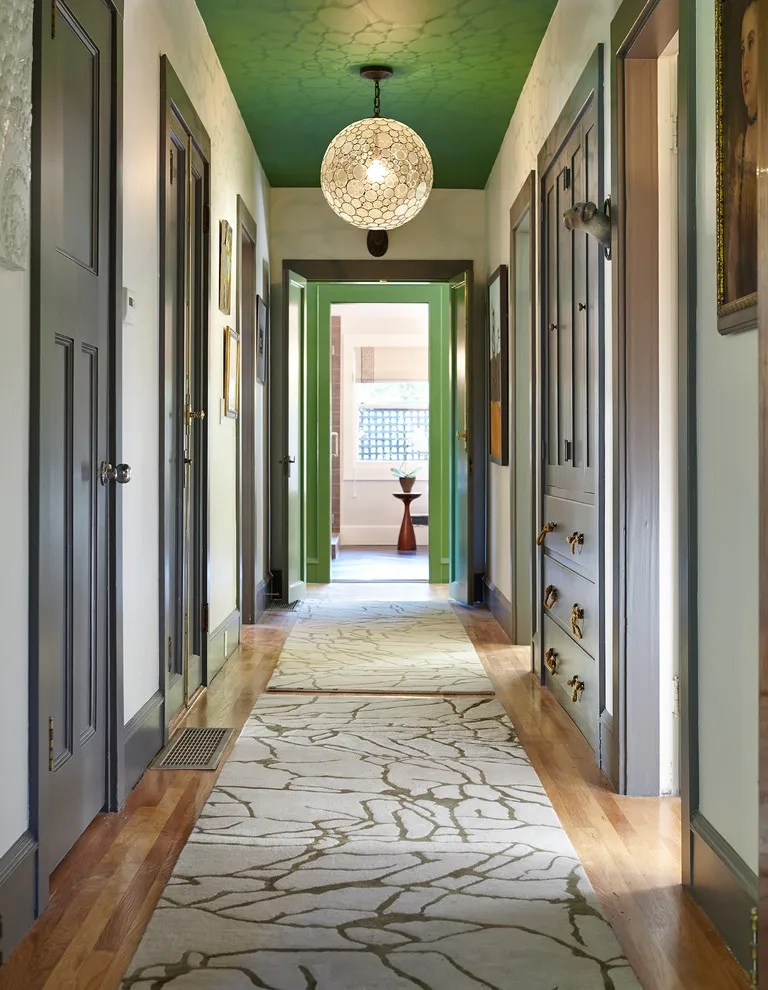 Shocking-Narrow-Hallway-Decorating-Ideas-for-Hall-Traditional-design-ideas-with-Shocking-gray-trim-green