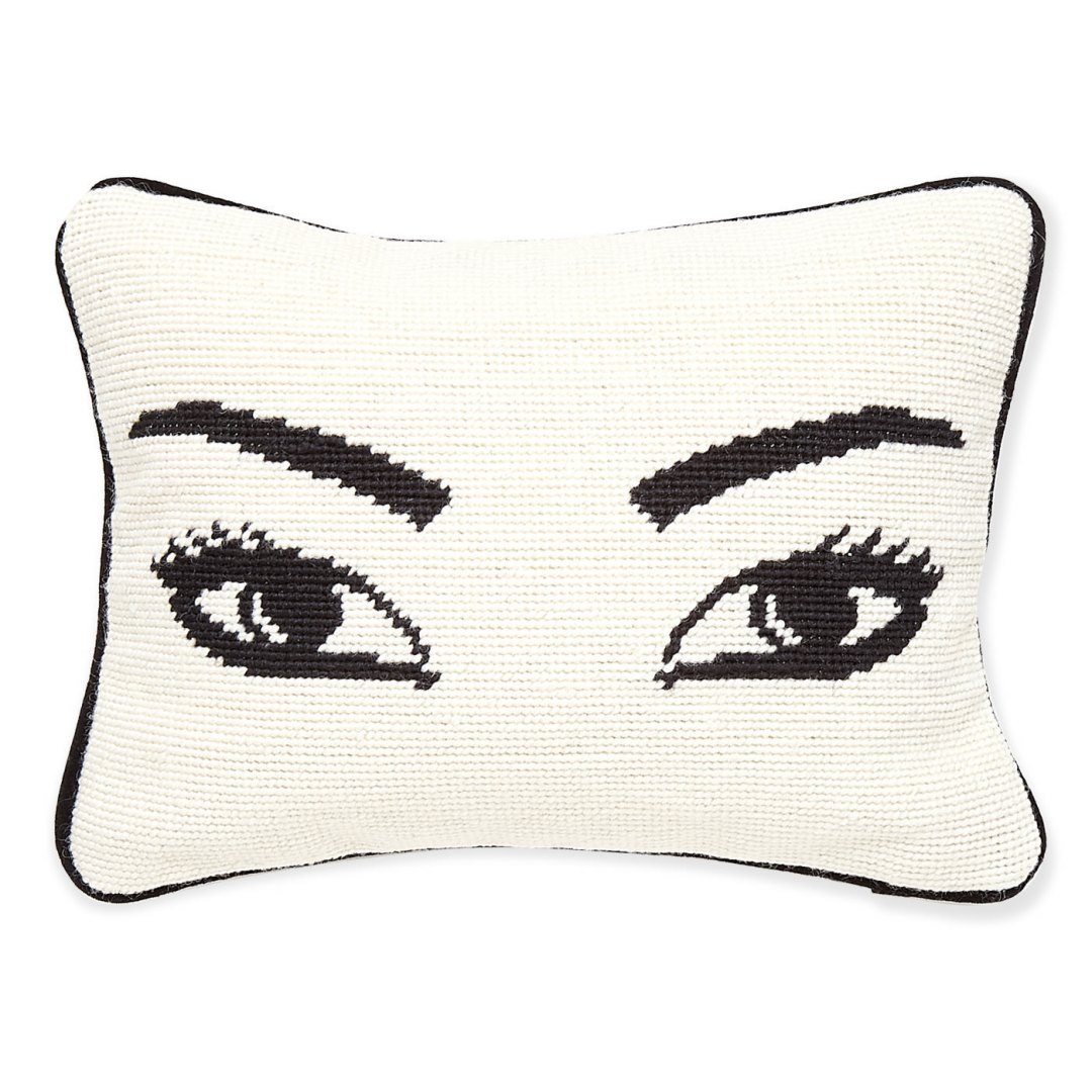 modern-decor-needlepoint-pillow-eyes-jonathan-adler