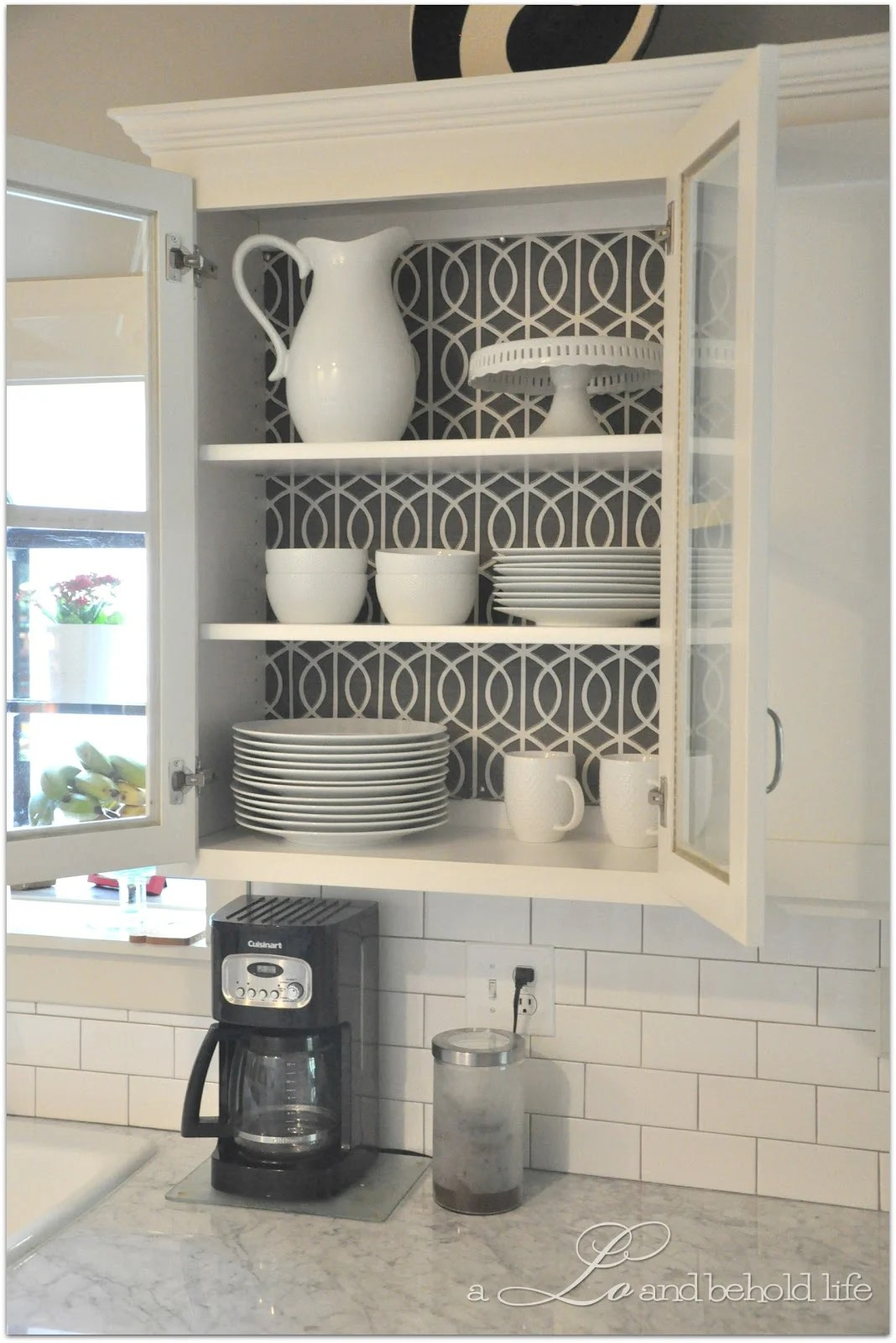 Kitchen Cabinet Inside 30 Creative Wallpaper Uses And Project Ideas