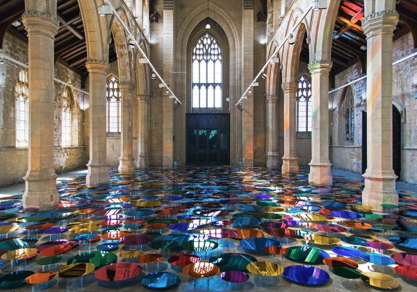 Artist Floods Cathedral With Rainbows