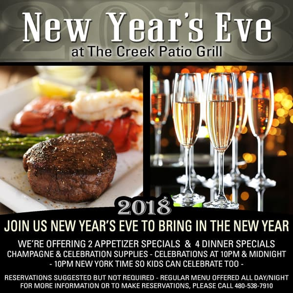 New Year's Eve 2018 at The Creek Patio Grill - Cave Creek Tatum Ranch Phoenix