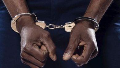 A crime suspect in handcuff