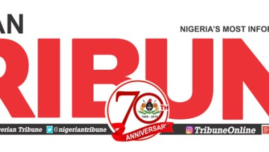 Logo-masthead of the Nigerian Tribune at 70