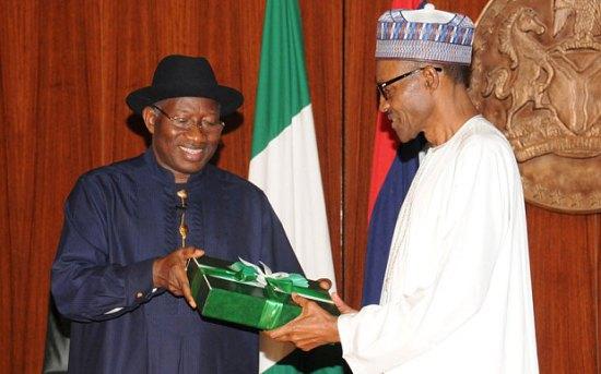 Ex-President Jonathan handing over to President Muhammadu Buhari