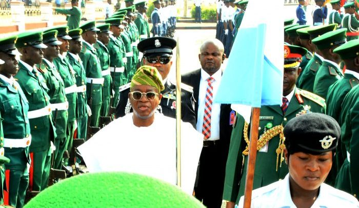 Gov. Oyetola at the Armed Forces Remembrance Day in Osogbo