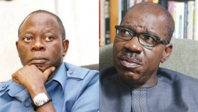 Adams Oshiomhole versus Godwin Obaseki (Photo: Premium Times)