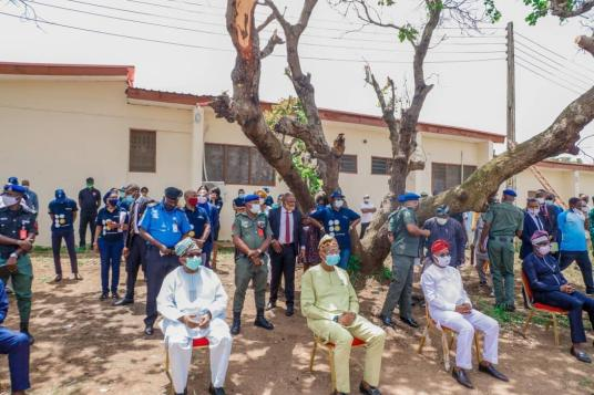 Governor Oyetola and his men at the commissioning