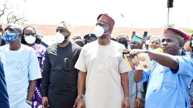 Gov. Seyi Makinde and his team inspecting the damaged palace