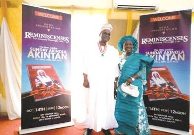 Justice Akintan and wife during the launch of his biography