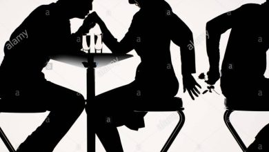 Infidelity: silhouette of couple sitting on bar stools at high table (Courtesy: Alamy)