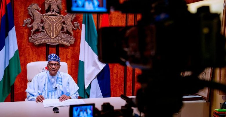 Buhari during the broadcast