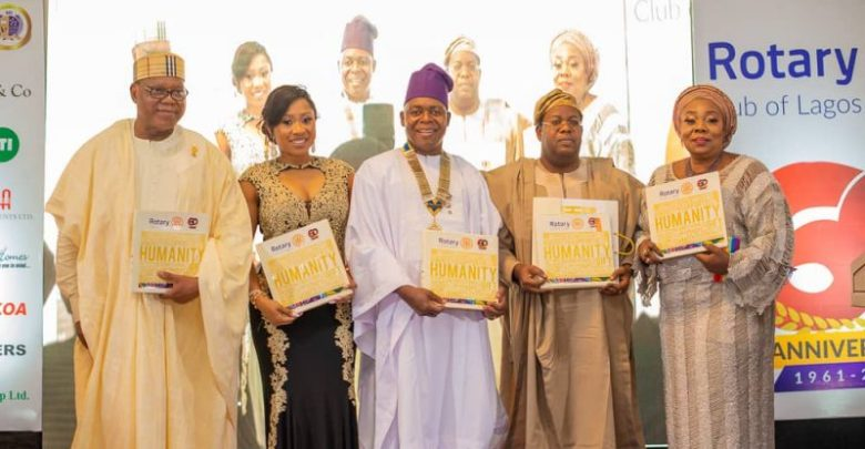 L-R: Larry Agose, Chair of the Anniversary Committee; Ann Adeyeri, spouse of Dare Adeyeri, 60th President of the Club, Dare Adeyeri, Dr Bisi Onasanya, former GMD/CEO of First Bank/Chairman of the occasion and his wife, Helen.