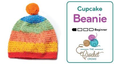 Crochet Caron Cupcakes Pom Pom Hat + Tutorial
