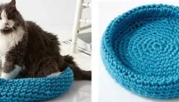 Crochet Cute Cat Nest Bed Free Pattern - Crochet Cat House ... | 200x350