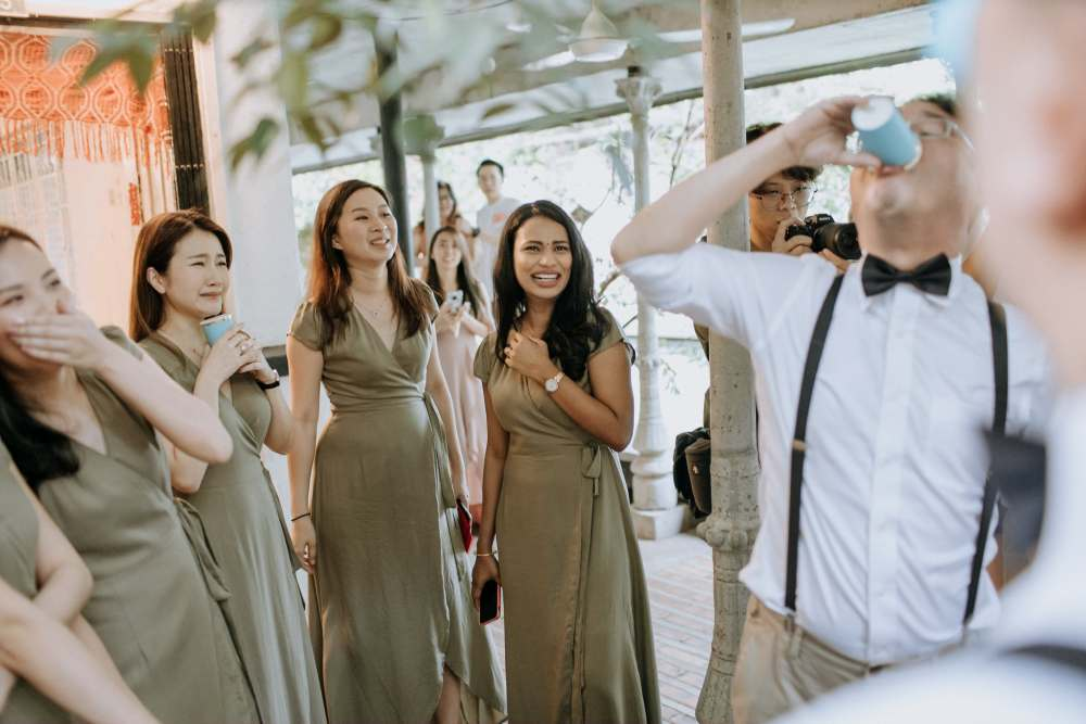 white olive green Rustic Wedding Sekeping Jugra cliff choong the cross effects kevin tan destination portrait and wedding photographer malaysia kuala lumpur bride and groom desert couple kiss romantic intimate moment scene bridesmaids beautiful parents emotional moments