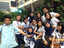 Goofing off with my classmates