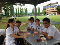 During breaks from classes with them