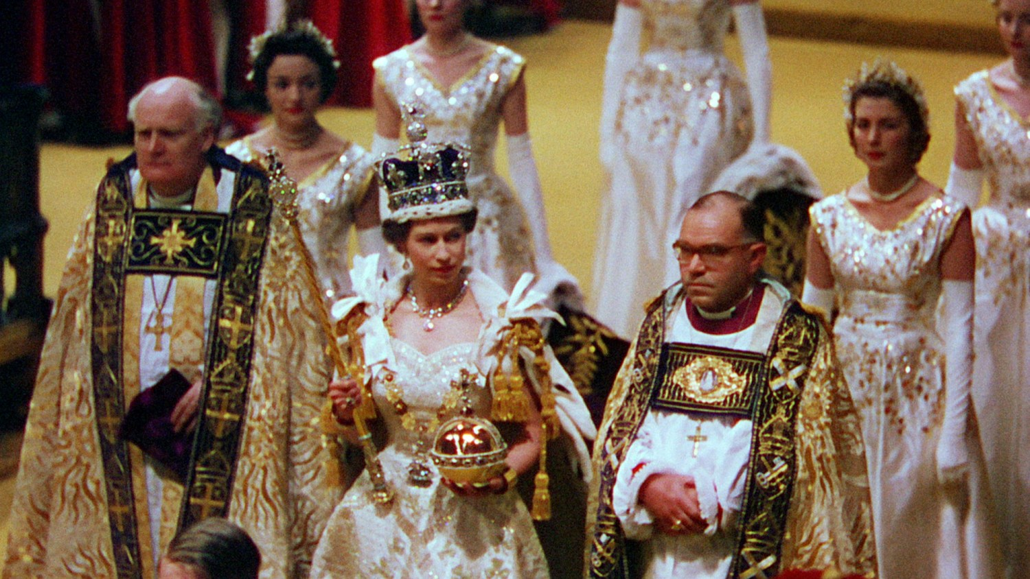 The Queen wears the imperial state crown after the coronation.  Her Majesty The Queen - (C) ITV Archive - Photographer: ITV Archive