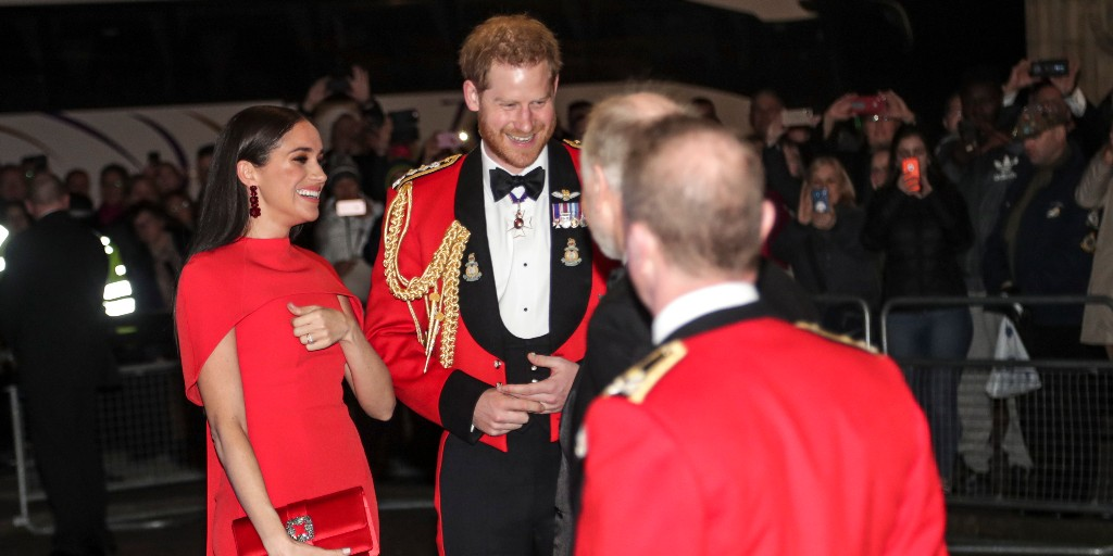 Prince Harry and Meghan arrive for the Mountbatten Festival of Music (Royal Marines)