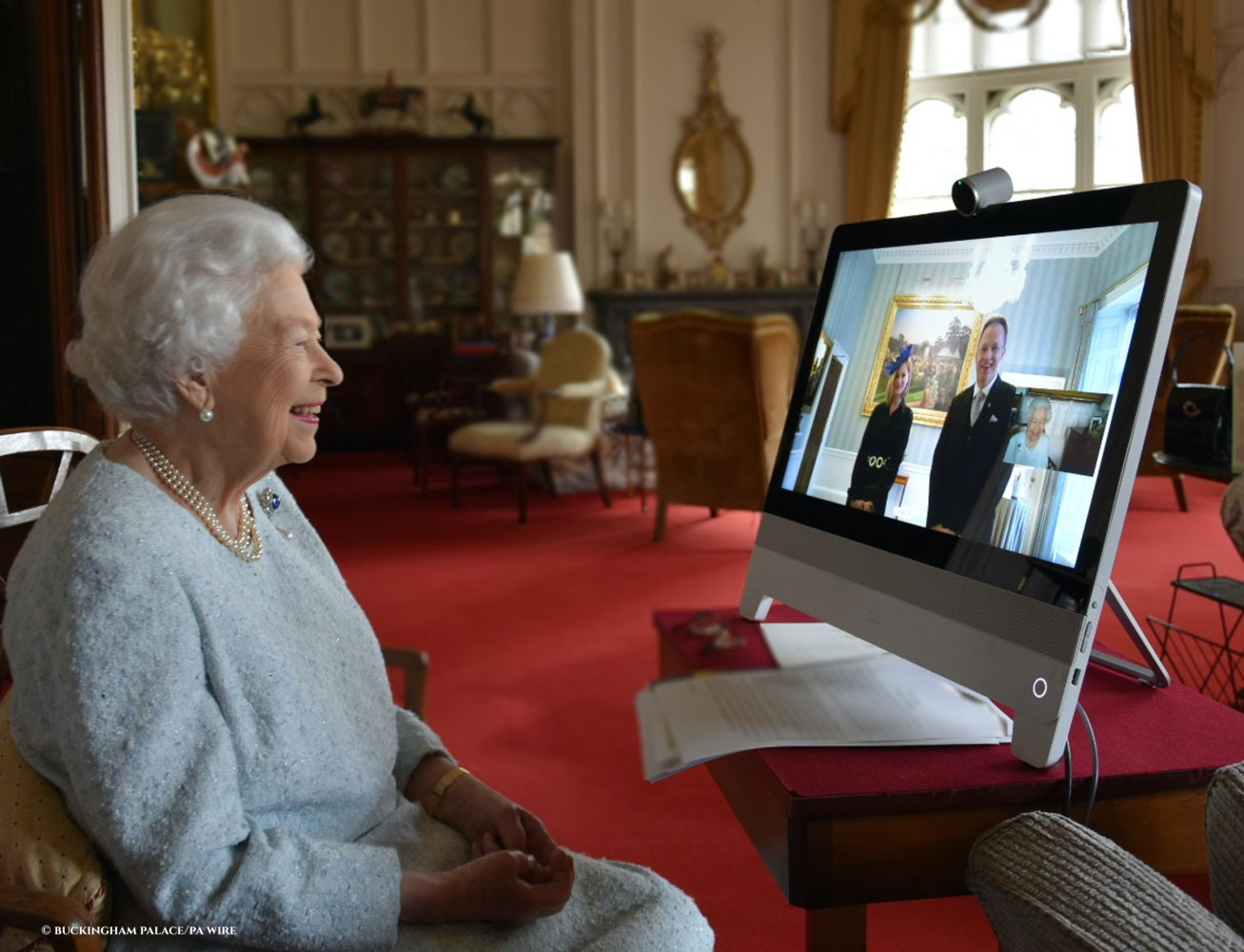 The Queen - in residence at Windsor Castle - speaking by video link during a virtual diplomatic audience with His Excellency Dr. Ferenc Kumin, Ambassador of Hungary