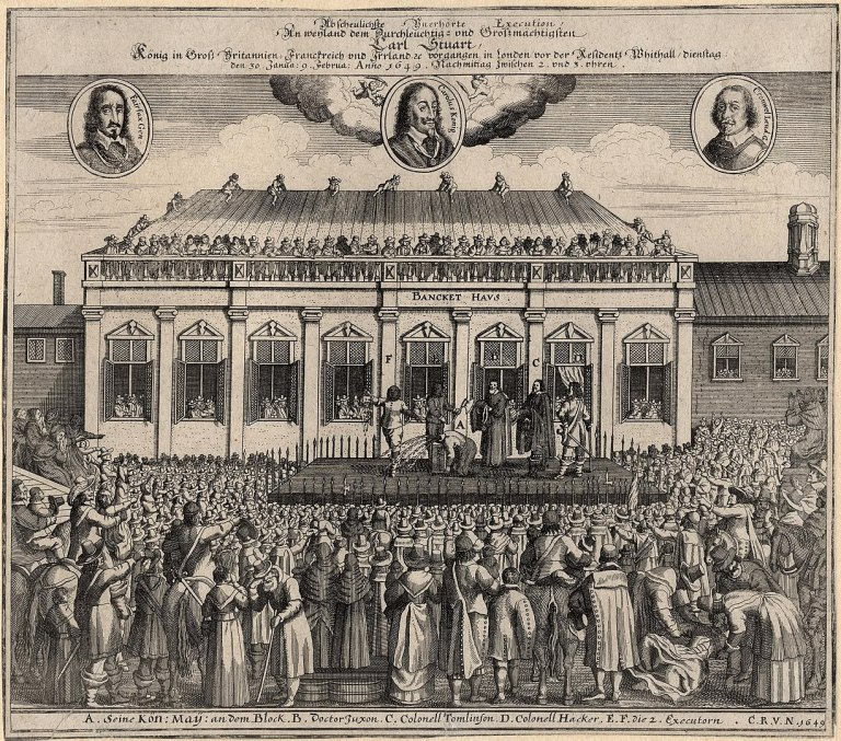 image of Charles I being execute on the scaffold outside Banqueting House