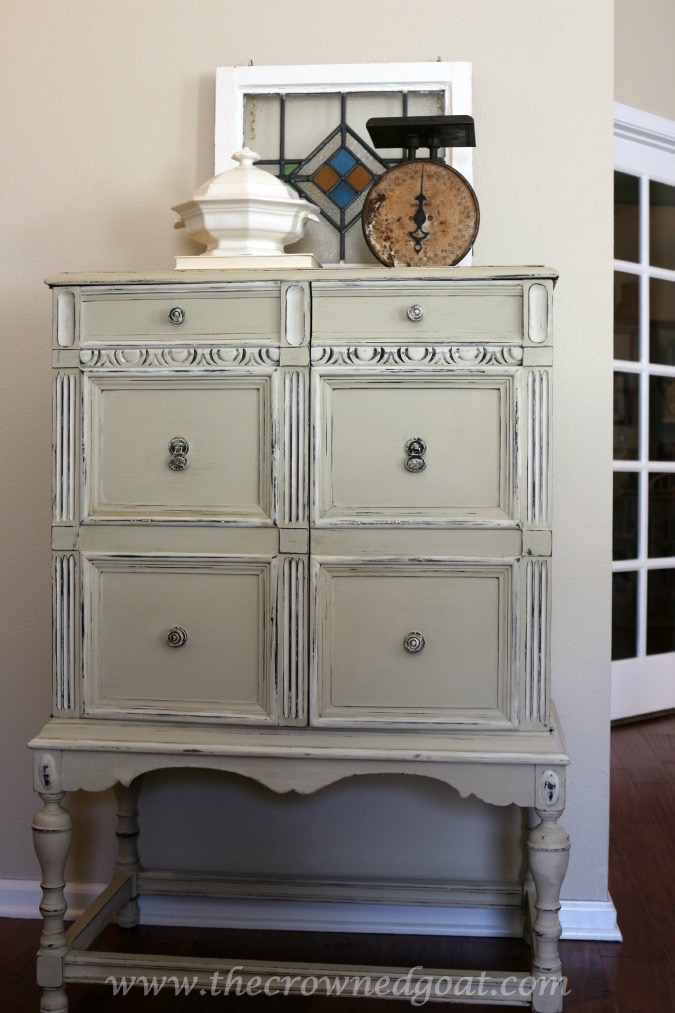 012315-6 Annie Sloan Chalk Painted 3-Drawer Nightstand in Country Grey Painted Furniture