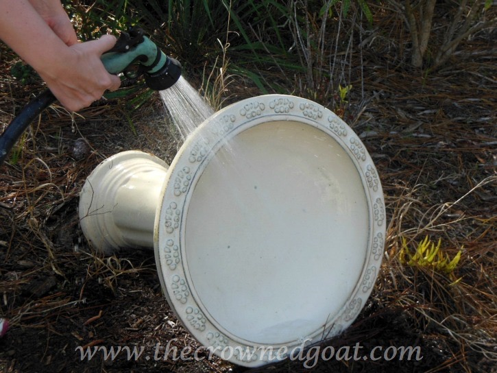 031115-6 How to Clean a Ceramic Glazed Birdbath DIY
