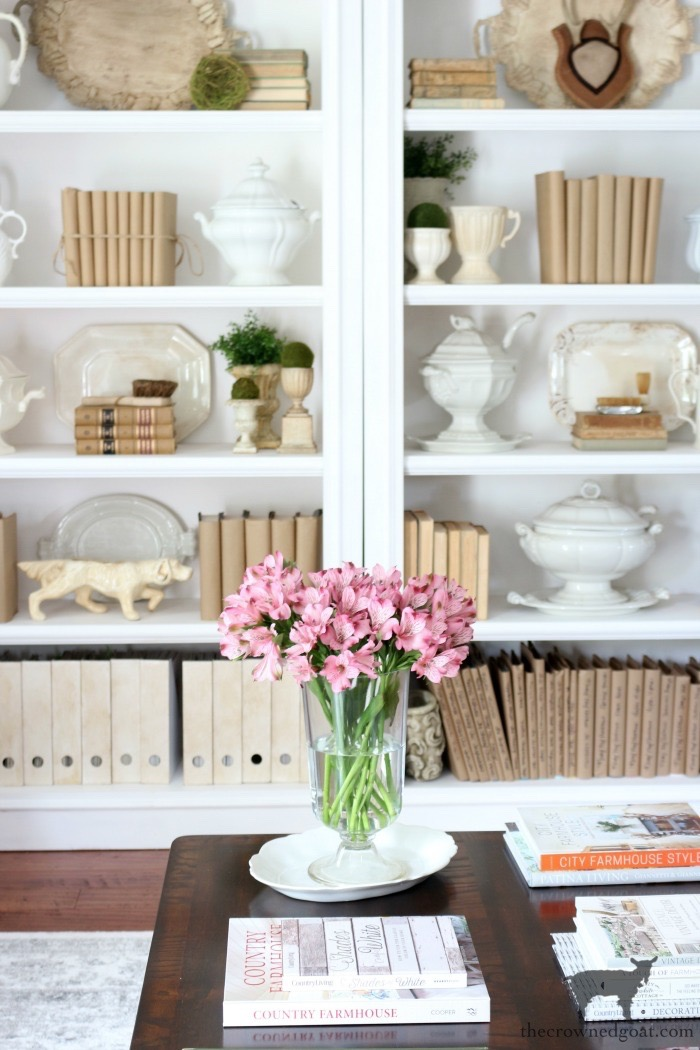 Spring-Shelves-Living-Room-The-Crowned-Goat Spring Flowers Home Tour Decorating Holidays Spring