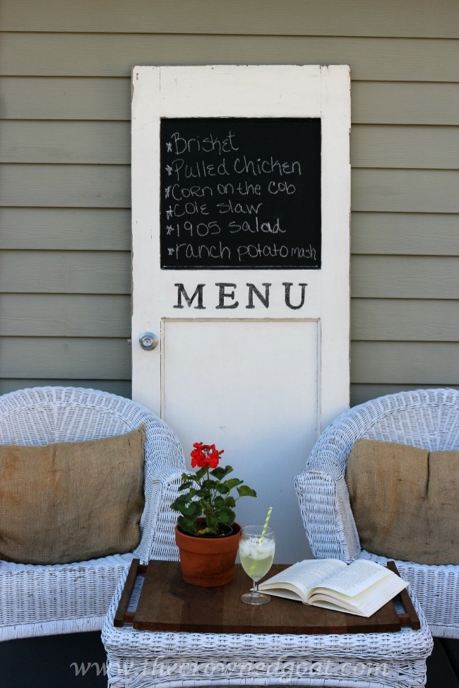 How-to-Turn-an-Old-Door-Into-a-Menu-Board-The-Crowned-Goat-050815-4 Backyard Patio Makeover Reveal Decorating DIY