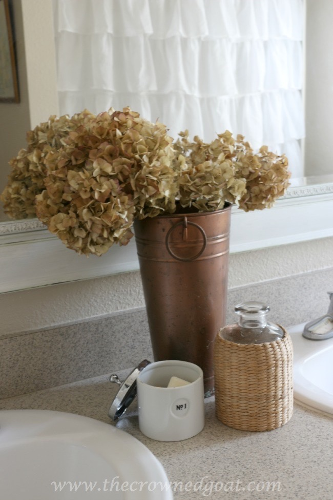 Dried-Hydrangeas-in-the-Bathroom-The-Crowned-Goat-062415-5 Bathroom Makeover Reveal Decorating