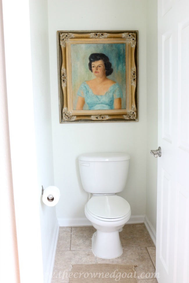 Oil-Painting-in-Water-Closet-The-Crowned-Goat-062415-14 Bathroom Makeover Reveal Decorating