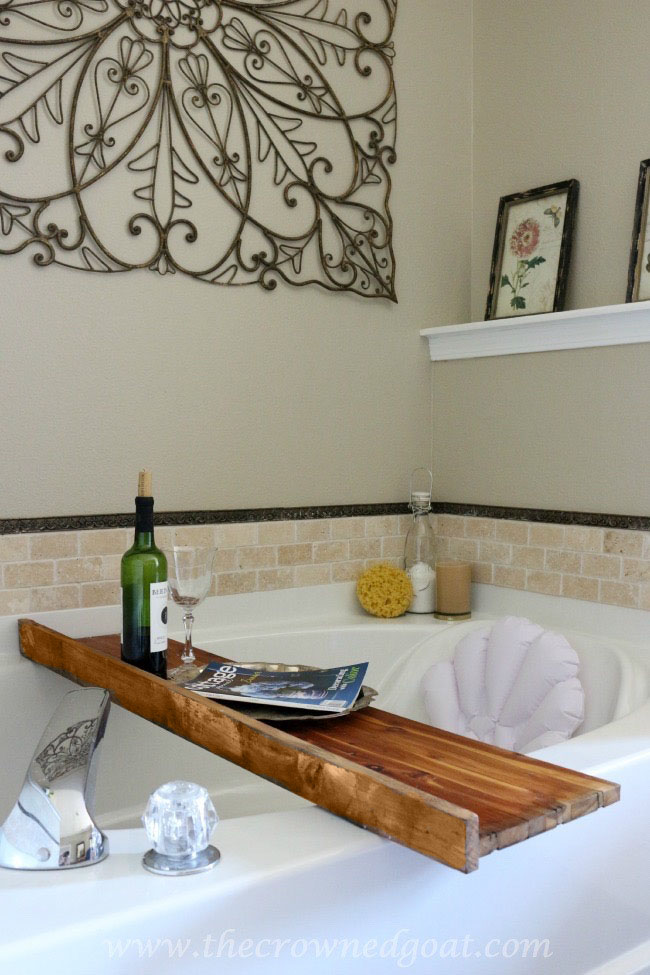 Reclaimed-Cedar-Wood-as-Bath-Caddy-The-Crowned-Goat-061815-17 Master Bathroom Makeover Decorating