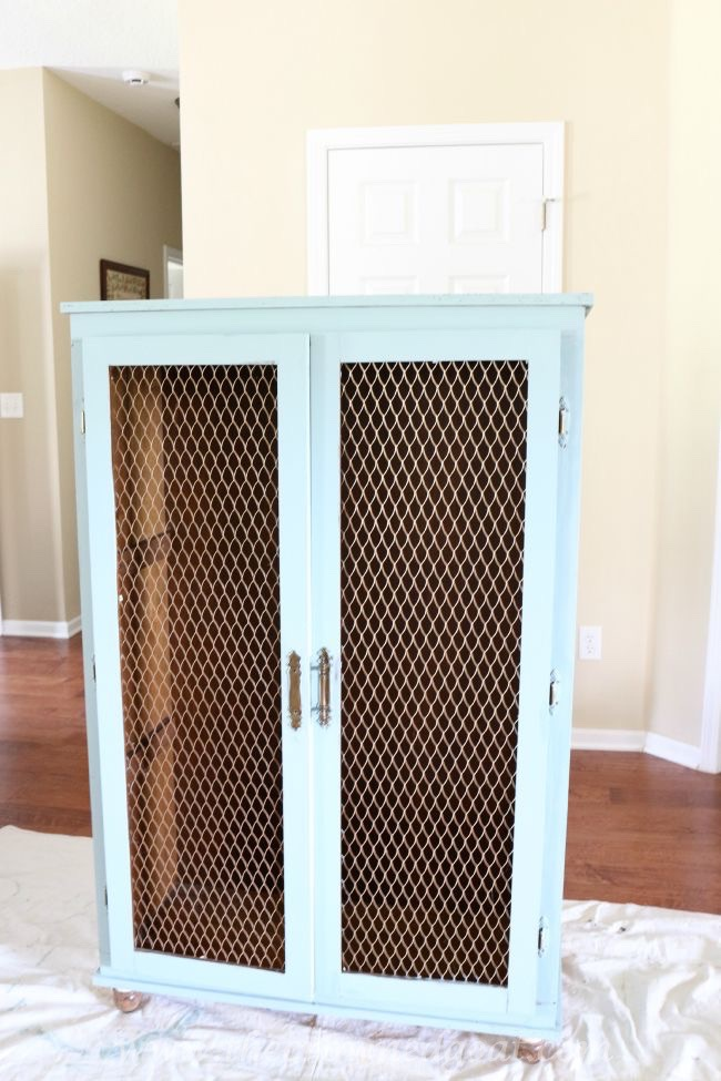 072815-6 Duck Egg Painted Cabinet Painted Furniture