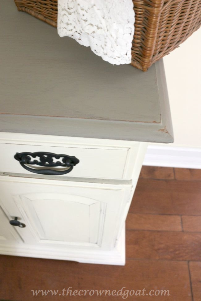 073015-6 Old White and French Linen Painted Buffet DIY Painted Furniture