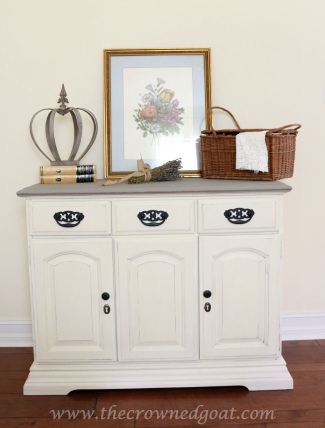 old-white-and-french-linen-buffet-the-crowned-goat-073015-8 Old White and French Linen Painted Buffet DIY Painted Furniture