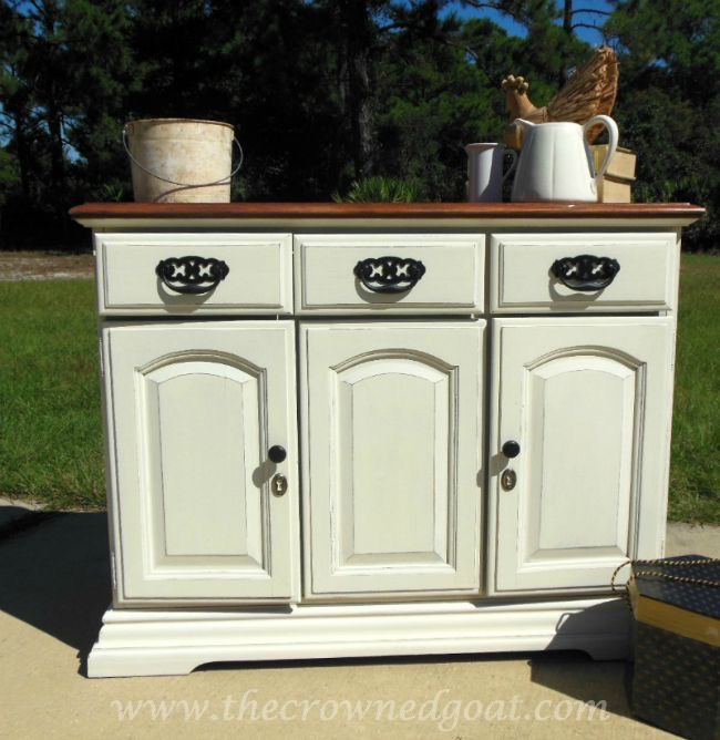 old white painted buffet - the crowned goat - 073015-3