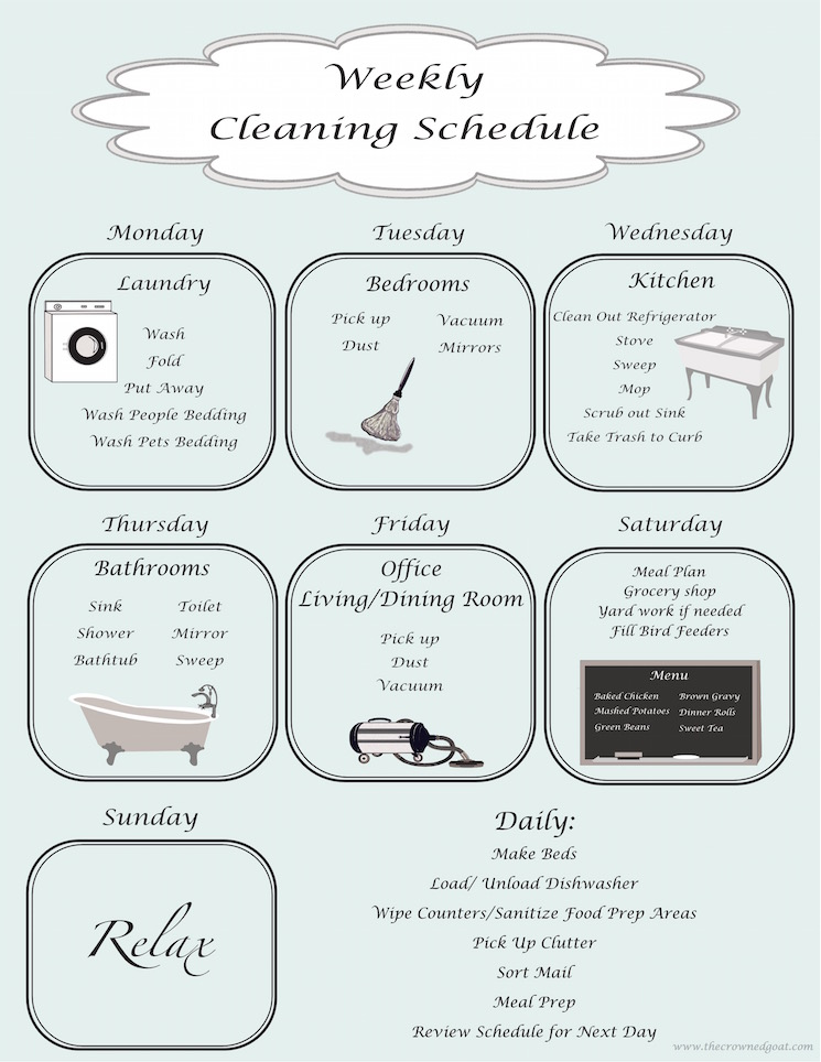 Weekly Cleaning Schedule - The Crowned Goat