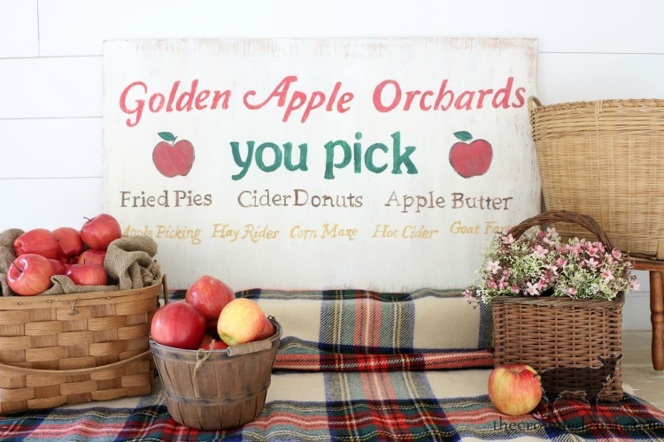How-to-Make-a-Vintage-Apple-Picking-Sign-The-Crowned-Goat-12 A Vintage Inspired Apple Picking Sign Crafts Fall Holidays